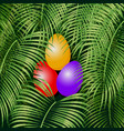 easter eggs on the green vector image vector image