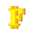 f letter bitcoin font cryptocurrency alphabet vector image vector image