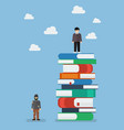 failure man and success man on a lot of books vector image