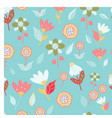 folk blue pink red yellow green flowers seameless vector image
