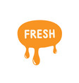 fresh icon orange paint dripping vector image vector image