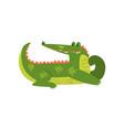 friendly crocodile lying on the floor funny vector image vector image