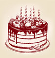 fruit cake birthday dessert symbol of the vector image vector image
