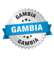 gambia round silver badge with blue ribbon vector image vector image