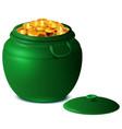 good luck st patricks day big green pot gold vector image vector image