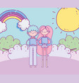 happy valentines day smiling couple grass rainbow vector image vector image