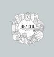 healthy lifestyle vintage sketch vector image vector image