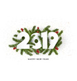holiday new year card 2019 - fir branches vector image
