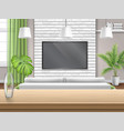 living room with sofa tv and wooden bar table vector image vector image