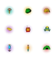 Mine icons set pop-art style vector image vector image
