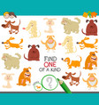 one a kind educational game with dogs vector image vector image