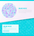 online music concept in circle vector image vector image