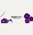 pansy flower violet frame website banner template vector image vector image
