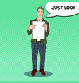 pop art businessman pointing at blank sheet vector image vector image
