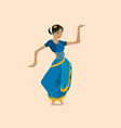 pretty indian woman dancing wearing sari vector image