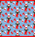 pug in hat pattern vector image vector image
