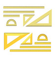 ruler chancery tools set flat style vector image vector image