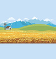 rural farm landscape dawn above hills with wheat vector image vector image