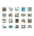 set home interior color line icons fireplace vector image