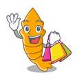 shopping fresh raw shrimps on character cartoon vector image
