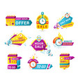shopping sales countdown promotional labels vector image vector image