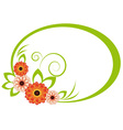 The oval frame with chrysanthemum vector image