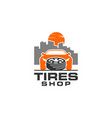 tires shop logo design template silhouette tire vector image vector image