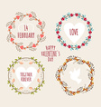 Valentines Day hand drawn set vintage style design vector image