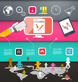 Web Page Layout with Technology Icons on Colorful vector image