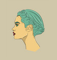 woman with long turquoise hair and red lips in vector image vector image