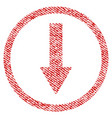 down rounded arrow fabric textured icon vector image