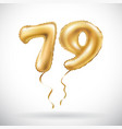 golden number 79 seventy nine metallic balloon vector image