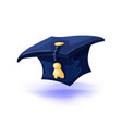 graduation cap with gold tassel isolated on white vector image