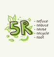 5r concept reduce reuse recycle root refuse vector image vector image