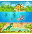 Animals Jurassic Banners Set vector image