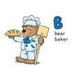 bear baker animals and professions abc alphabet b vector image vector image