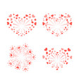 beautiful heart-fireworks set red romantic salute vector image vector image