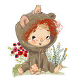 cartoon baby girl with red curled hairs vector image vector image