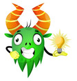 cheerful monster with an idea on white background vector image vector image