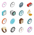Clocks icons set isometric 3d style