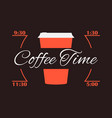 coffee time cup of coffee infographics poster vector image vector image
