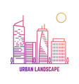 colorful urban landscape in line style vector image vector image