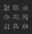 covid19 vaccination chalk white icons set on black vector image vector image