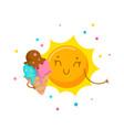 cute sun eating ice cream cartoon character vector image