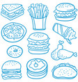 doodle of fast food various vector image vector image