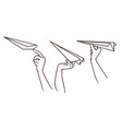 drawing sketch of the hands launching paper vector image