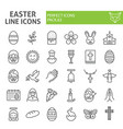 easter line icon set spring holiday symbols vector image vector image
