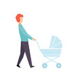 father walking with baby stroller parent taking vector image vector image