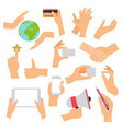 flat design hand icons set concept hand vector image vector image