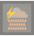 flat shading style icon thunderstorm rain cloud vector image vector image